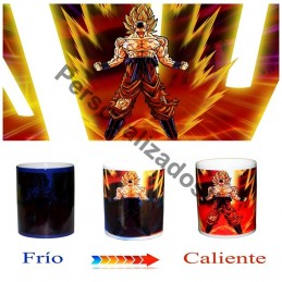 Taza magica negra Dragon Ball goku super saiyan transformacion - Magic mug M2