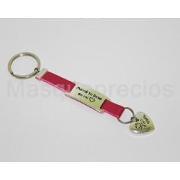 Llaveros en acero precioso mama te llevo en el corazon key chain cuero rosa