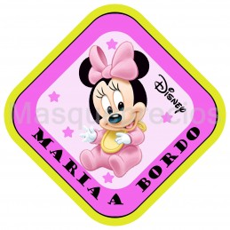 Cartel bebe a bordo disney de Minnie