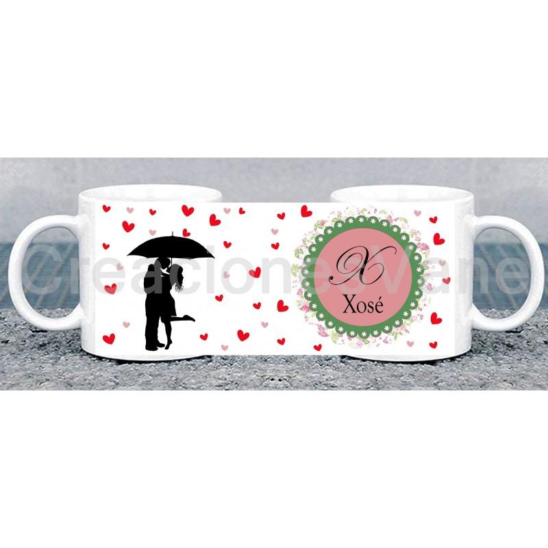 Taza blanca con asa corazon ideal san valentin para regalar a tu pareja