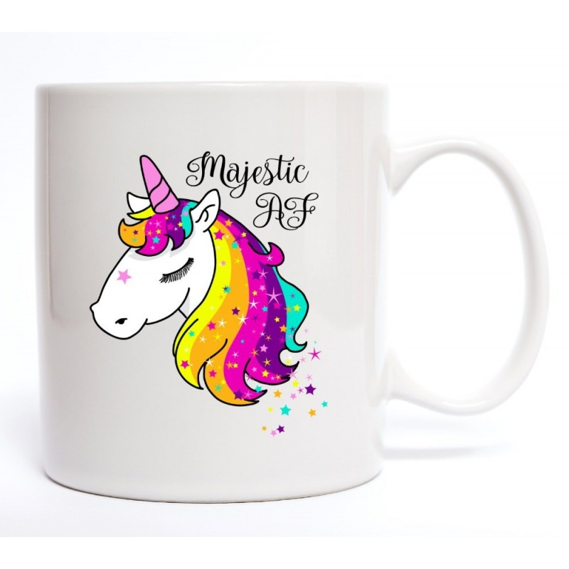 Taza blanca unicornio personalizada con tu nombre