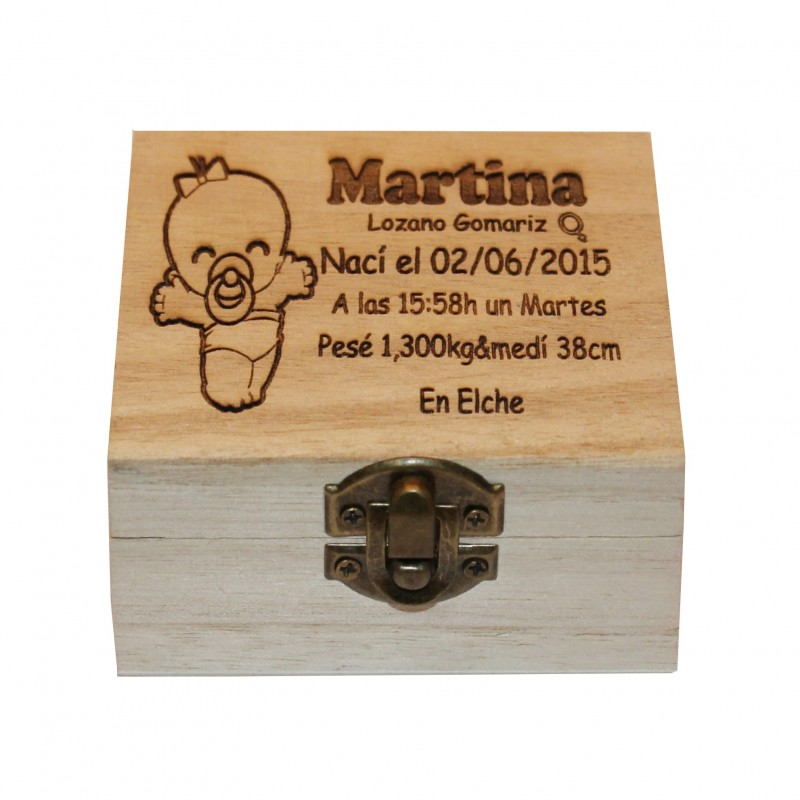 Caja de madera personalizada Natalicio.