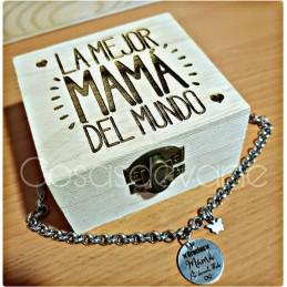 Pulsera acero inoxidable Gracias Mamá por darmelo todo+caja mamá