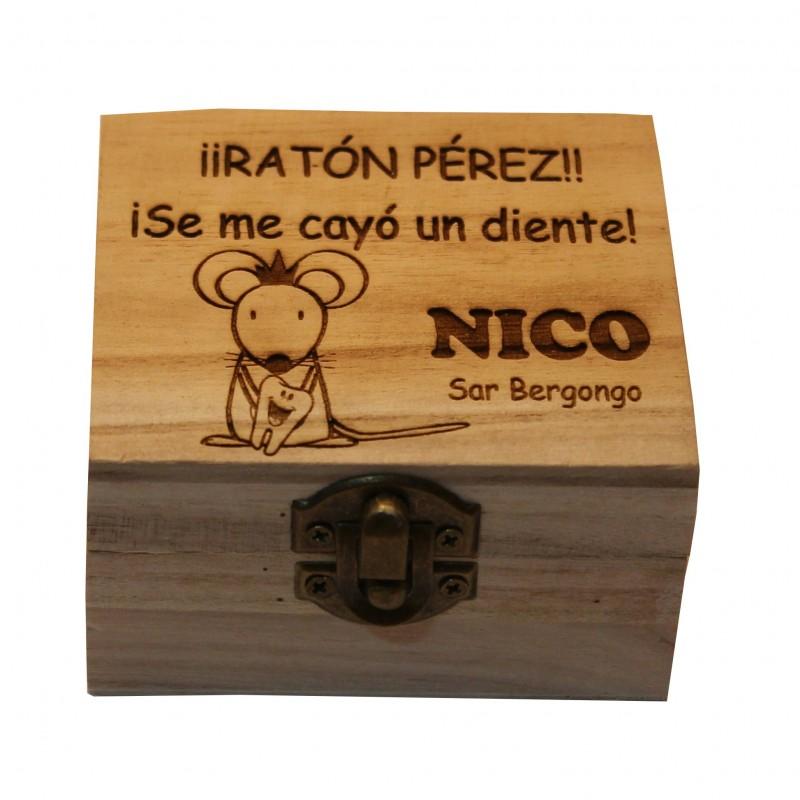 Caja de madera personalizada regalo niños Ratón Peréz guarda dientes