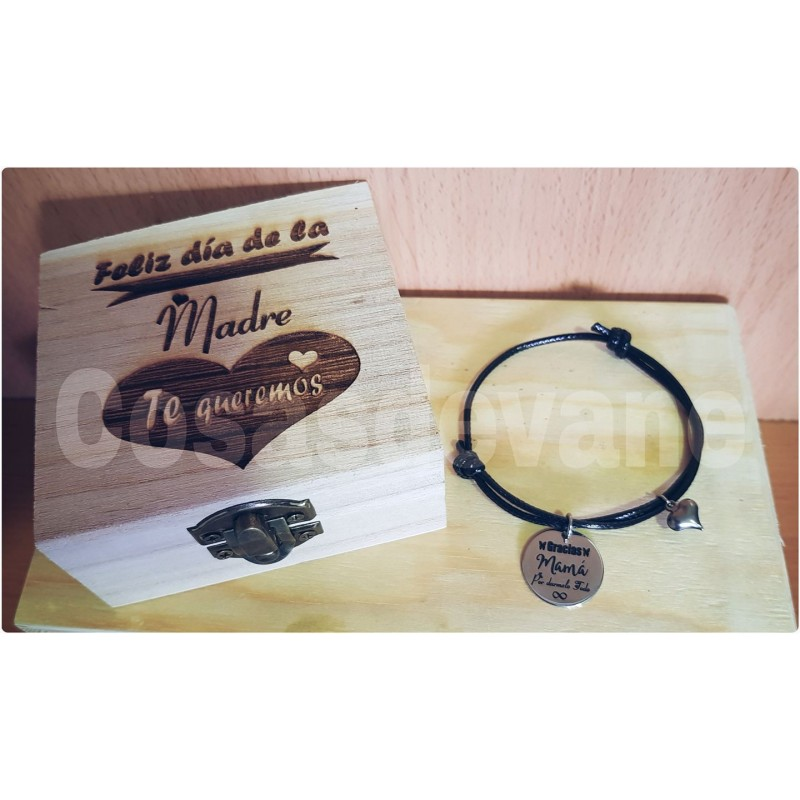 Lote pulsera+estuche personaliazada para regalar a mamá abuela madrina etc