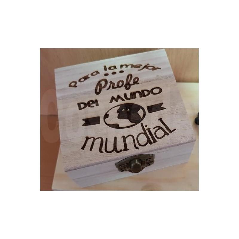 Caja de madera personalizada regalo niños profesores maestros fin de curso