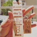 Lote marca paginas de madera especial para profesores más llavero frase profe