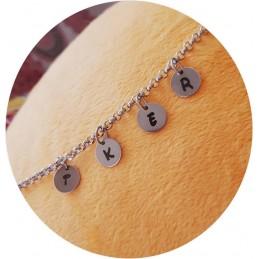 Tobillera de acero inoxdable hipoalergénica con medallitas y letras que forman tú nombre,especial verano