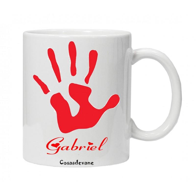 Taza personalizada con la mano de tu hijo/a