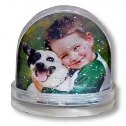 Bola con agua decorada con nieve corazone purpurina o estrellass