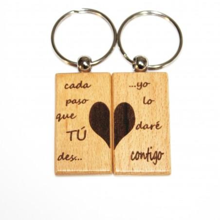 2 llaveros de madera grabados frase enamorados san valentin eventos
