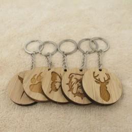 Llavero madera redondo con dibujo o texto