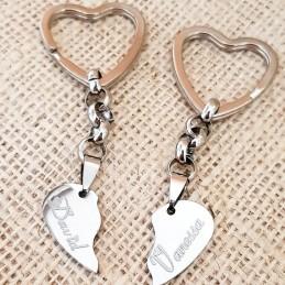 Llaveros corazón partido acero inoxidable Dúo regalo Enamorados