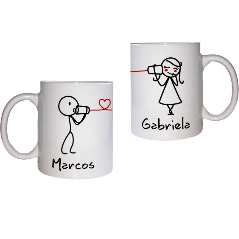 Duo tazas blanca personalizada enamorados