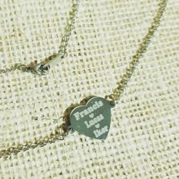 Colgante corazón conector a cadena de 50cm y varios nombres