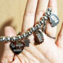 Pulsera acero inoxidable mamá con el nombre de los hijos grabados en pies