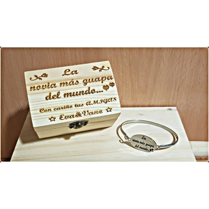 Lote caja de madera más pulsera para la novia más guapa del mundo