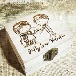 Caja de madera enamorados