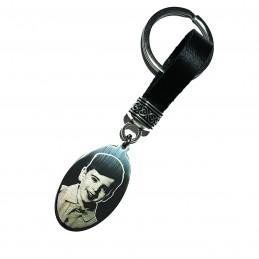 AGOTADO-Llavero ovalado acero y cuero con foto retrato