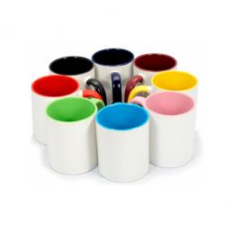 Taza con fondo y asa de color a elegir, personalizada con tus fotos o diseño