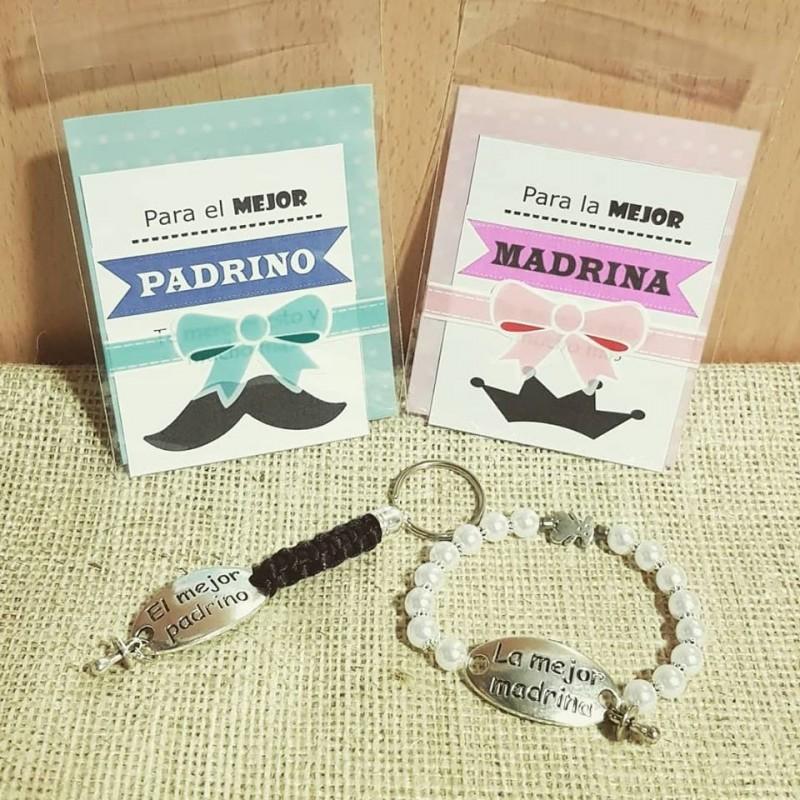 Lote para regalo de los padrinos, pulsera perlas zamak mejor madrina y llavero mejor padrino
