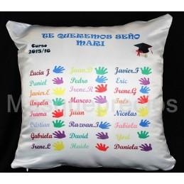 Cojin regalo profesores, con los nombres de los niños