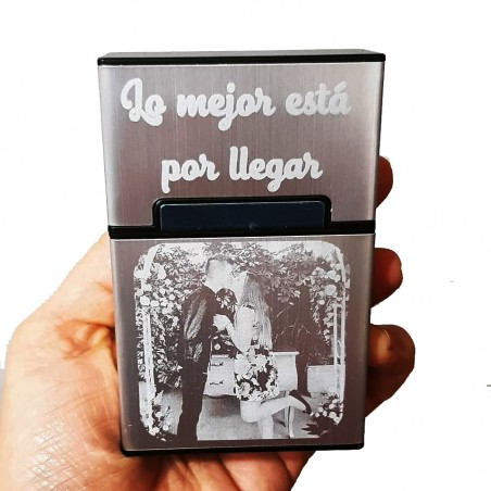 Pitillera guardar tabaco,regalo ideal fumadores aluminio