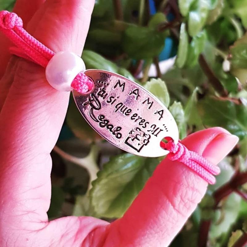 Pulsera de cordón fuscia ajustable/mamá tu eres mi regalo