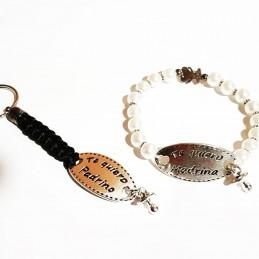 Lote para regalo de los padrinos, pulsera perlas te quiero madrina y te quiero padrino