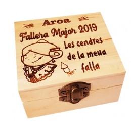 Caja madera grabada ideal guardar cenizas de las fallas