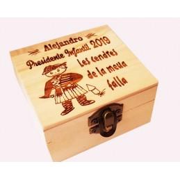 Caja madera grabada ideal guardar cenizas de las fallas,especial fallero