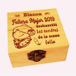 Caja madera grabada ideal guardar cenizas de las fallas-modelo infantil