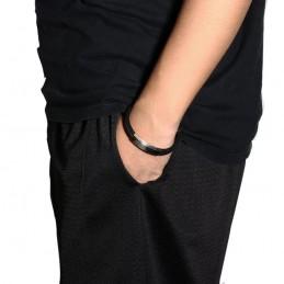 Pulsera de hombre acero inoxidable y cuero negro ampliable a cualquier medida