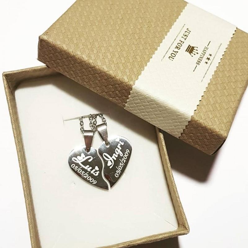 Colgante corazón partido acero inoxidable Dúo regalo Enamorados