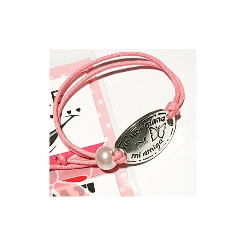Pulsera de cordon rosa ajustable para hermanas