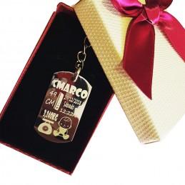 Llavero acero inoxidable grabado a punta de diamante natalicio