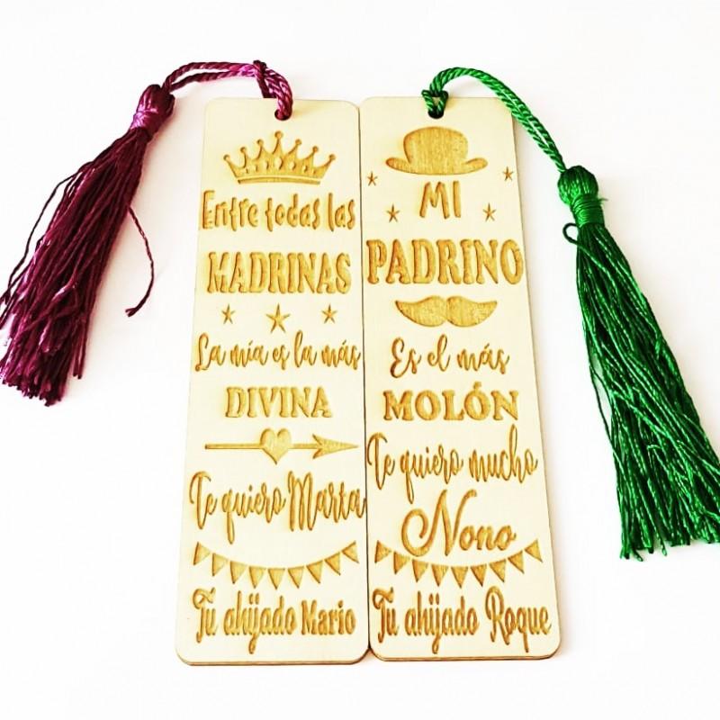 Dúo marca paginas de madera regalo para padrino y madrina