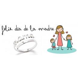 Anillo ajustable en plata de ley 925 mamá - Regalo especial día de la madre