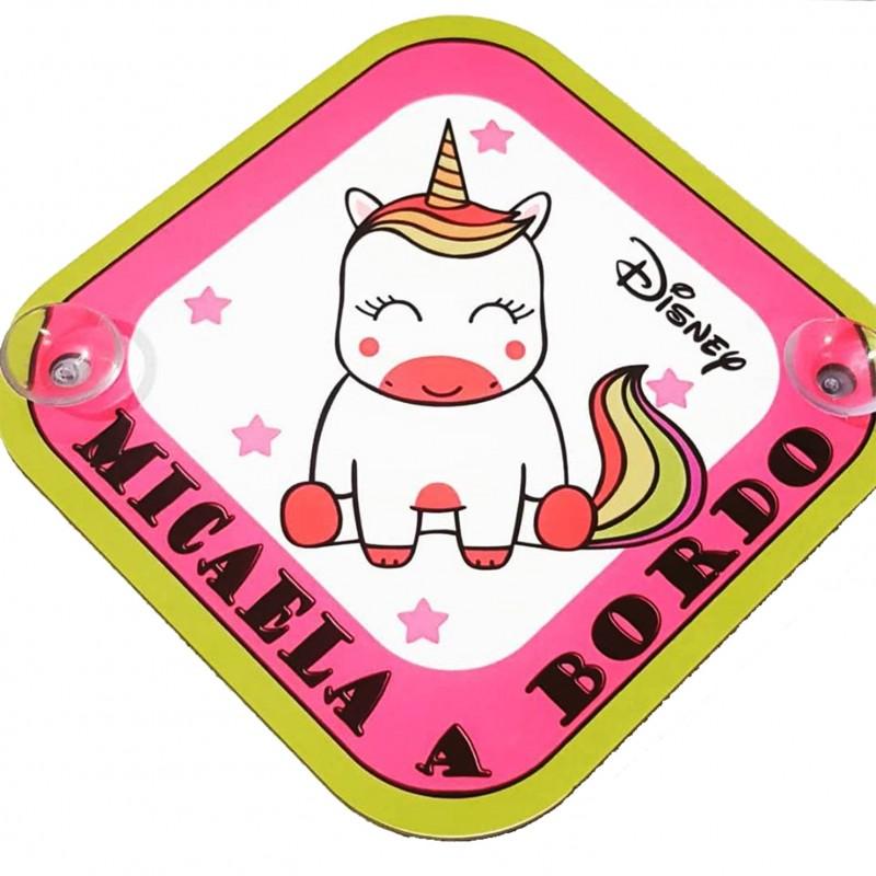 Cartel bebe a bordo unicornio molón niña personalizado