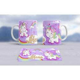 Taza blanca unicornio personalizada con tu nombre personalizado ART0999