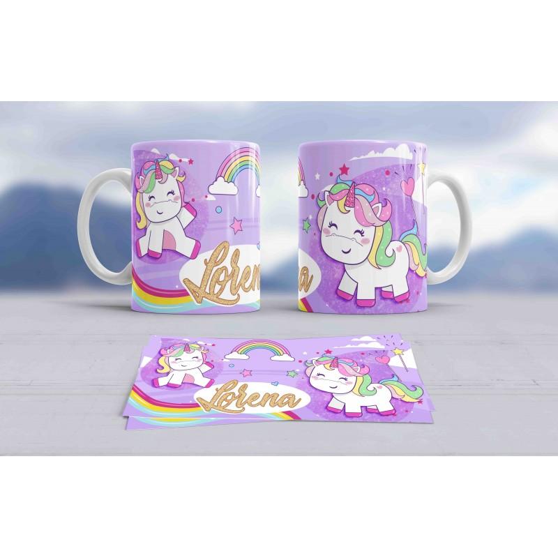 Taza blanca unicornio personalizada con tu nombre,,ideal regalo niños