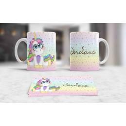 Taza blanca unicornio personalizada con tu nombre,,ideal regalo niños M2