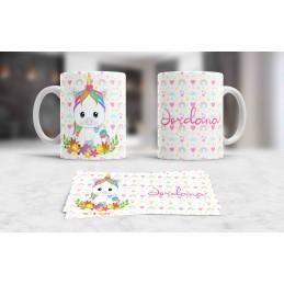 Taza blanca unicornio personalizada con tu nombre,,ideal regalo niños M3