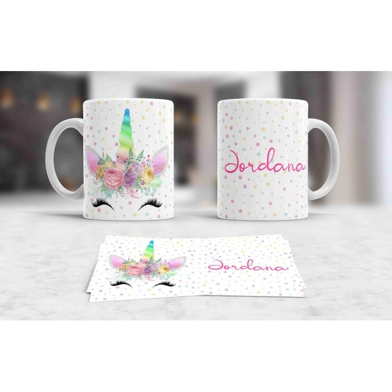 Taza blanca unicornio personalizada con tu nombre,,ideal regalo niños M4