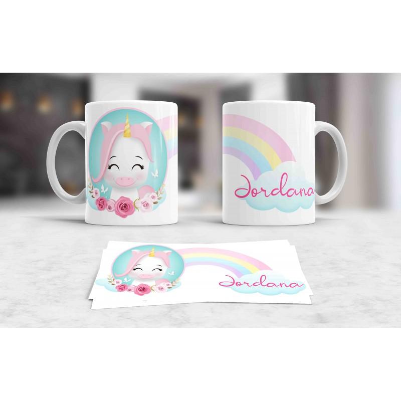 Taza blanca unicornio personalizada con tu nombre, nregalo niños M5