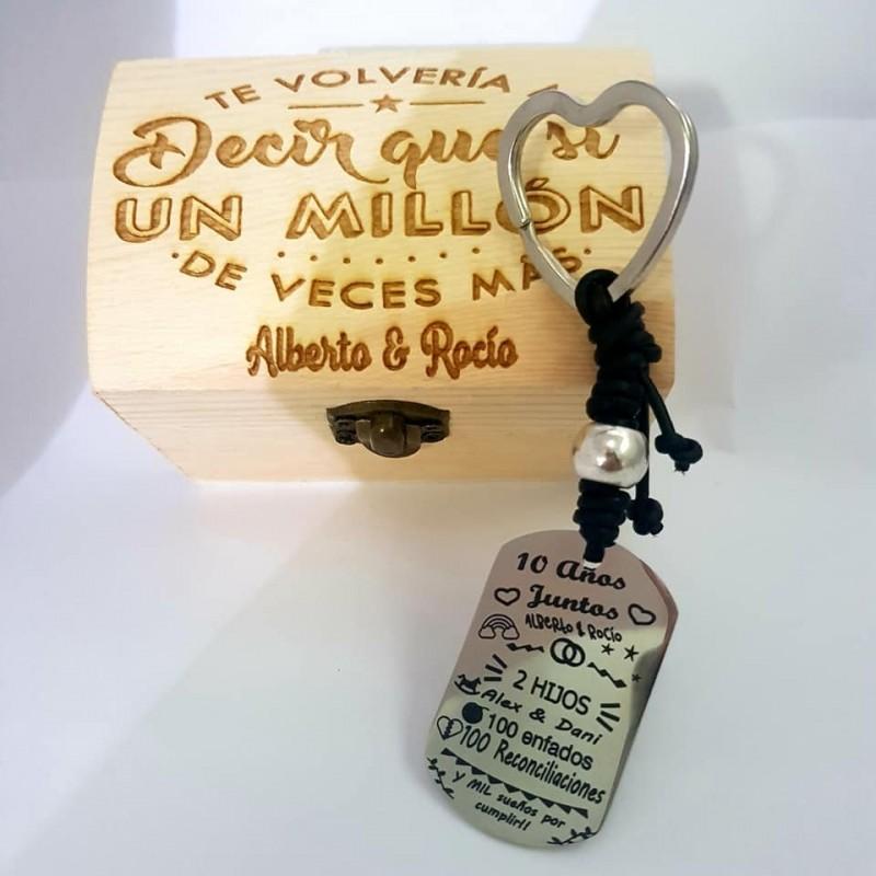 Lote llavero+caja enamorados,personalizados con vuestros datos