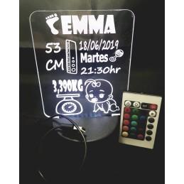 Panel Led personalizado con los datos natalicios-combinación de colores y mando