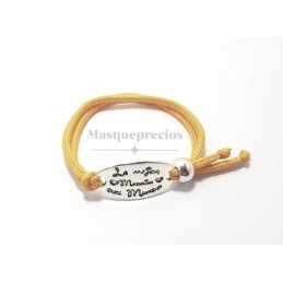 Pulsera de cordon fuscia ajustable para la mejor madrina del mundo