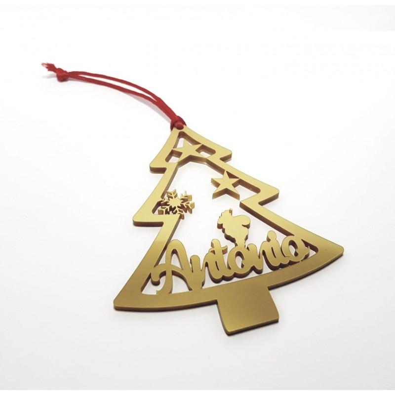 Adorno para el árbol de Navidad personalizado-forma de árbol con tu nombre