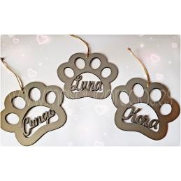 Huella de perro adorno Navidad con nombre en color plata ABS